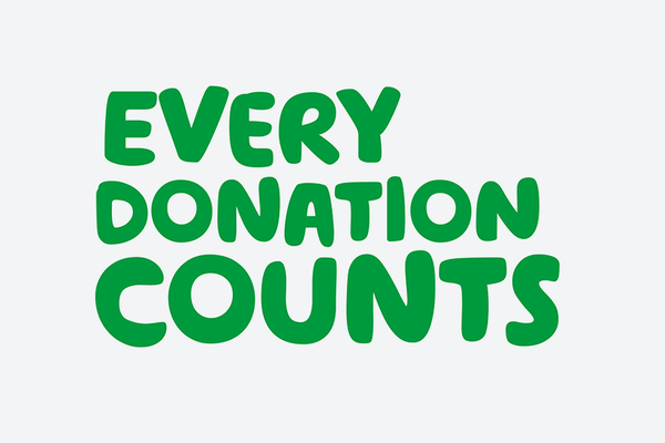 A white Whatsapp sticker with the words Every donation counts