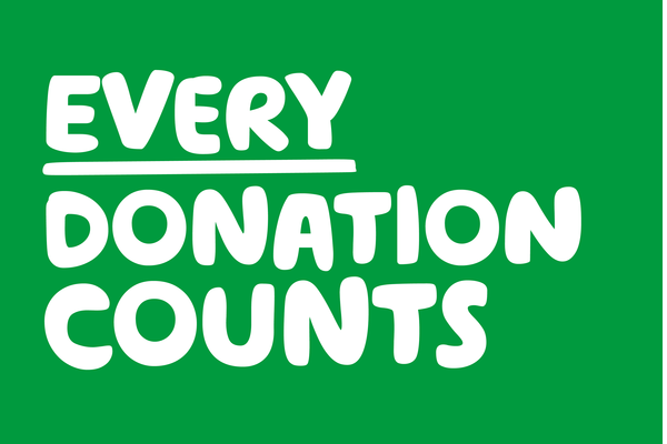 A green social post with the words Every Donation Counts