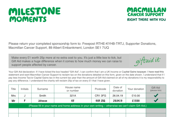 A preview of the Macmillan Sponsorship form