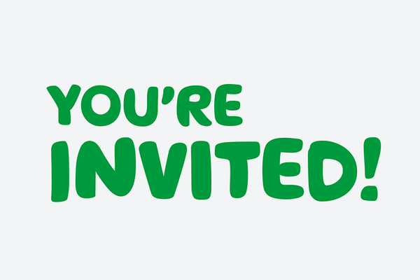 A white Whatsapp sticker with the words You're invited!